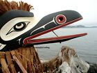 Northwest Coast First Nations native cedar articulated RAVEN MODEL MASK signed