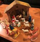 VTG Nativity Set 24 PC 1940s Chalkware Plaster Figures Cardboard Litho Manger