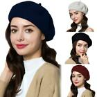 Winter French Style Vintage Wool Beanie Hat Women Warm Solid Plain Beret Cap-WI