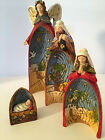 Set Of 4 Resin Nativity Nesting Figures Hand Painted By Roman Inc