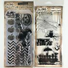Tim Holtz Lot Of 2 Clear Stamp Sets  Stencil Happy Halloween  Cutouts Witch
