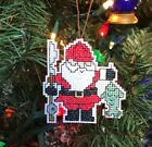 Handmade Cross Stitch Christmas Ornament-Completed-Fishing Santa Claus-Angler