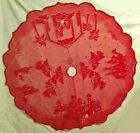 48 Round Lace Tree Skirt Red Nativity Scene Christmas Livingroom Dining Room