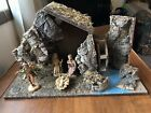 FONTANINI Figurines Nativity Set with Musical Stable 3 Lot Water Wheel Mill Vtg