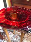 Vintage Ruby Red Glass 14 inch Platter Scalloped Edge