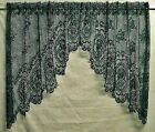 Lace Window Swag Pair or Insert Valance Hunter Green Cameo Rose Bedroom