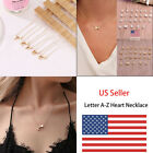 US Charm Heart Letter Initial A Z Alphabet Pendant Chain Necklace Christmas Gift