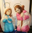 27 Halo Mary Joseph Nativity Holy Family Xmas Blowmold Light Vtg Outdoor Yard