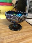 Fenton Carnival Glass Purple Iridescent Pedestal Floral Dish With Original Stick