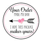 30 15 THANK YOU HEART MADE MY DAY FAVOR LABELS ROUND STICKERS ENVELOPE SEALS