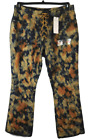 Vintage Revolt camo camel blue tie up splatter acid wash wide leg denim jeans 18