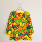 Vintage 70s Psychedelic Hippie Multi Color Flower Power Polyester Top