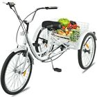 24 Adult Tricycle 1 7 Speed 3 Wheel For Shopping W Installation Tools White