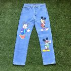 Vintage 1990s Too Cute David Guetta Brothers Mickey Mouse Denim Jeans Blue Wash
