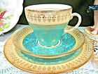 ROYAL Grafton tea cup and saucer trio chintz aqua pale green teacup set
