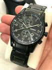 FOSSIL BLACK TONE STAINLESS STEEL CASE FACE METAL BAND MENS CHRONOGRAPH