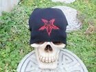 pentagram black embroided goat beanie slayer pagan death metal blood 666