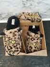 DEARFORMS LEOPARD FAUX FUR CAT NAP SLIDE SLIPPERS  EYEMASK SET LADIES L 9 10