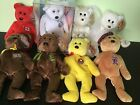 TY Retired Beanie Bears Set Color Me Willam Pierre Tradee ChariTee Vintage