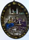 ANTIQUE REVERSE PAINTED GLASS WESTENBORG HOLLAND DOGS AND SMOKING PIPES