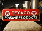 OLD 1960'S TEXACO MARINE PRODUCTS PORCELAIN GAS STATION SIGN
