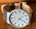 """Skagen Men's Gray Wool/Leather Band Watch New Battery Clean 9"""" Band"""