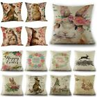 Spring Easter Flowers Rabbits Throw Pillow Case Bunny Cushion Cover Home Decor