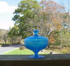 NORTHWOOD CELESTE BLUE STRETCH GLASS FTD COVERED COMPOTE