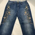 Vintage America Blues Floral Embroidered Boyfriend Jeans Womens Size 6 Med Wash