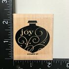 Stampin Up Joy Christmas Ornament Wood Mounted Rubber Stamp Holiday Card Making