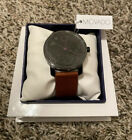 NEW Movado Bold 41mm Black Dial Brown Leather Strap Men's Watch 3600488 NIB