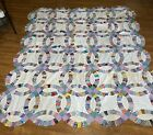 Vintage Quilt Top 1930s Cotton Fabric Double Wedding Ring Antique Hand Pieced