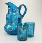 VTG Set Hand Blown Embossed Blue Pitcher w 2 Matching Cups Flowers Gold Gilt