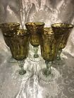 5 Tortoise Shell Brown Mexican Blown Bubble Glass Goblets Wine Glasses Glass