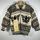 NWT GENUINE Cowichan Native Tribes Coast Salish Hand Knit Sweater Raw Wool Small