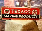 AUTHENTIC TEXACO MARINE PRODUCTS MOTOR OIL FUEL GASOLINE PORCELAIN GAS PUMP SIGN