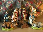 Vintage Italy Chalk Plaster Christmas Nativity 8 Pieces  Manger Hand Painted