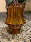 Vintage Fairy Lamp Light Indiana Glass Amber Diamond Point 2 Piece MCM Candle