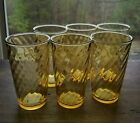 Vtg Amber Gold Glass Tumblers, set of 6 drinking glasses Spiral Optic Pattern