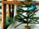 Clip on Blue Peacock w Tail Feather Blown Glass Christmas Tree Ornament Germany