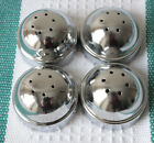 4 Vintage NOS Anchor Hocking Shiny Unused Aluminum Domed Shaker Lids Only