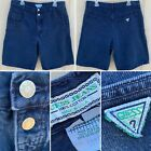 Vintage Guess Jeans Denim Shorts Made In USA 36 Blue Double Button 80s 90s 1980s