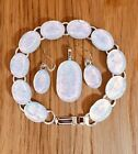 SALE Beautiful White Multi color Handmade Fused Dichroic Glass Jewelry Set s