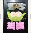 Personalized Twin Hospital baby wreathTwin Birth announcement door hanger