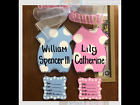 Twins hospital wreath boy girl twins personalized birth announcement door hanger