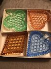 Vintage Colored Bohemia Crystal Glass Playing Card Suit Snack Candy Dishes