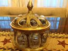 Ornate Vintage Solid Brass  Blown Bubble Glass Humidor