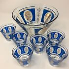 Vintage Mid Century Blue Gold Glass Punch Bowl Set 7pc