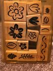 Stampin Up FANCIFUL FLOWERS Set of 13 Rubber Stamps retired 1999 2 Step