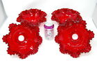 4 Set Vintage Fenton Ruby Red Hobnail Glass Shade Lamp Ruffled Sconce GWTW 4x9In